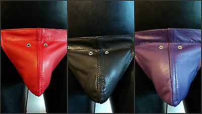 Mens Genuine Leather Thong Elastic Waist gay interest Black Red Purple All Sizes