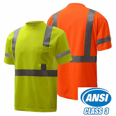New Uniform High Visible Safety T-Shirt Short Sleeve ANSI class 3 - Lime/orange
