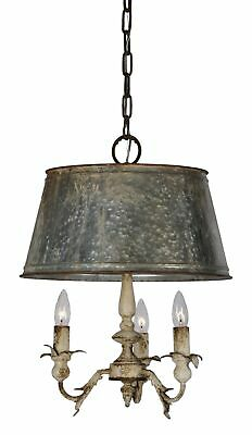 Colonial Tin Chandelier Hammered Metal with Aged Shade