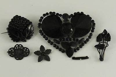 Vintage Victorian Estate Costume Jewelry LOT MOURNING Pins & Large Heart Button