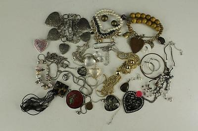 Vintage Costume Jewelry Variety Lot Necklaces Rhinestone Wood Beads Hearts Watch