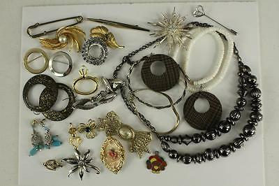 Vintage Costume Jewelry Variety Lot Brooch Stick Pin Necklaces