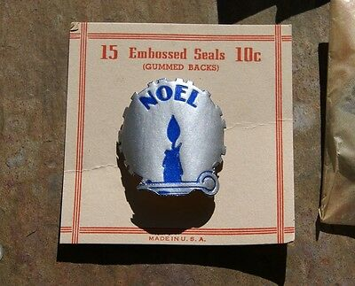 400+ vtg 40's  embossed foil CHRISTMAS SEALS NOEL candle carolers new old stock