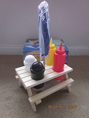 Wooden Picnic Bench with Parasol & Condiments ~ 6 Pce Set ~ Caravan/Camping/BBQ