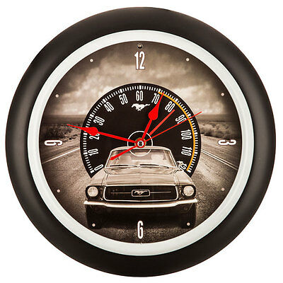 Ford Mustang Sound Clock Wall Decor    Garage Metal Vintage Style Sign Decor
