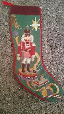 Embroidered Nutcracker Wool Christmas Stocking 1991 Collector's Item