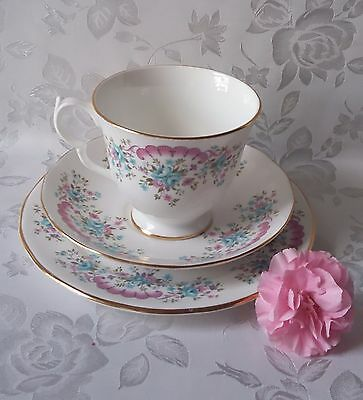 Vintage Queen Anne Bone China Pink & Blue Floral Tea Trio Teacup Saucer Plate