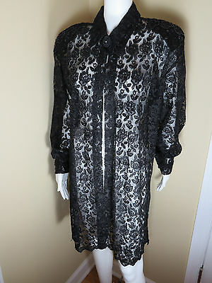 """Exquisite Unbranded Black Beaded Lace Formal Jacket Top Sz 16W/18W ? Bust 48"""""""