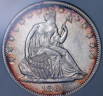 1860 Seated Half Dollar (Old Small White) Anacs Au 50 Bright Centers Toned Rims