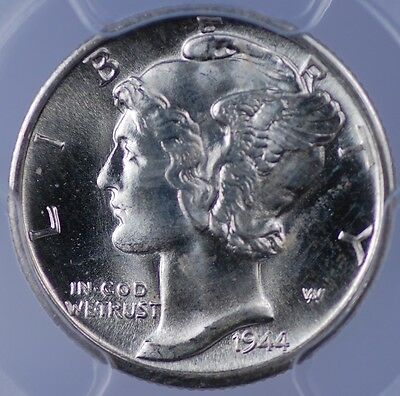 1944 D Mercury Dime Pcgs Ms 65 Full Bands Flashy White Clean And Well Struck