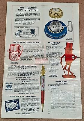 RARE 1940'-1950s PLANTERS ADVERTISING CIRCULAR AND PREMIUM ORDER BLANK