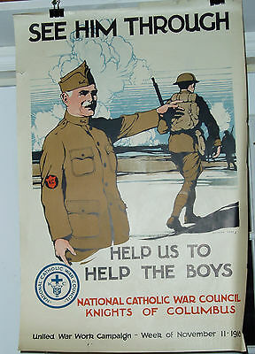 Knights Of Columbus Original Ww1 1918 Poster Burton Rice Art Very Fine Condition