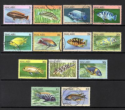 MALAWI 1984 FISHES sg688-698 + sg700-701 FINE USED PART - SHORT SET NOT CAT BY M