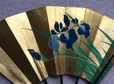 Vintage Japanese Gold Painted Paper Folding Fan. Pretty Blue Lily Design.