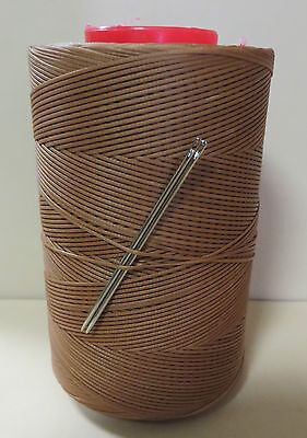 RITZA TIGRE WAXED HAND SEWING THREAD 1mm LEATHER/CANVAS  & 2 NEEDLES-AMBER GLOW