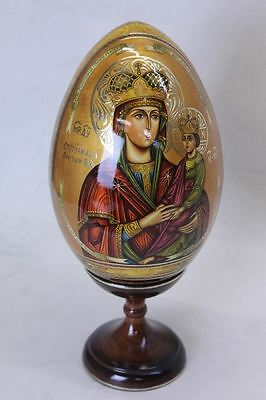 UNBRANDED Russian Painted Lacquer Egg Of Madonna & Child Easter With Stand