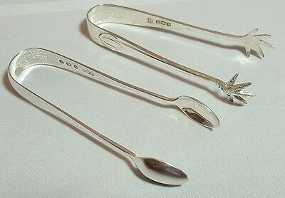Two Elegant Solid Sterling Silver Sugar Tongs Nips - Claw And Plain