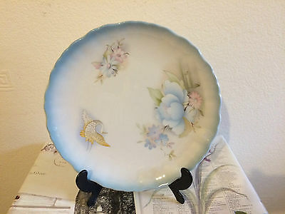 "Vintage Old Foley James Kent Cake Plate with blue edging approx 9"" diameter"