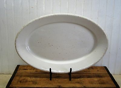 """Large 17"""" Vintage Ironstone Serving Platter White Knowles Taylor & Knowles"""