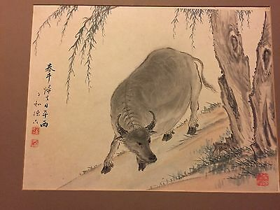 Fine Chinese Watercolor Painting Antique 19th C. Water Buffalo Seal / Signed NR