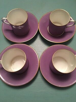 4 Royal Worcester Purple Cups And Saucers - Lovely Set