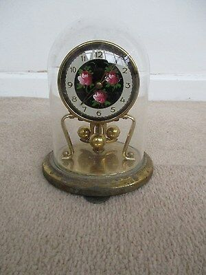 lovely old hand painted german koma clock with glass dome..