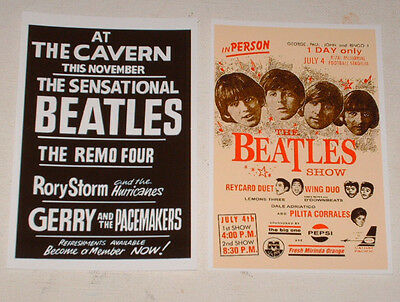 The Beatles Vintage Concert Posters Job Lot Set 10 Colour 6 X 4 Glossy Cards