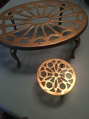 Two Brass Trivet Stands- One 3 Legged And One 4