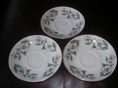 "Crown Staffordshire English Fine Bone China ""christmas Rose"" Tea Saucers X 3"