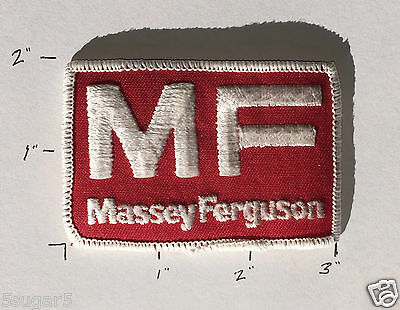 """Vintage 1970s MF MASSEY FERGUSON 2"""" x 3"""" fabric PATCH red/white COLLECTIBLE *NEW"""