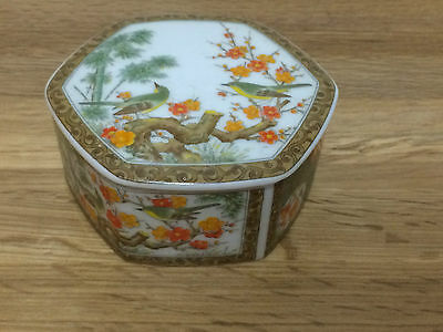 Vintage Chinese Porcelain Hexagonal Trinket Box With lid Birds & plants