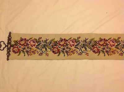 "Completed Vintage tapestry Bell Pull 6.5""w X 48"" long"