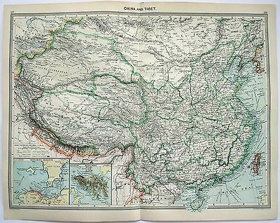 Original Map of China & Tibet China c1906 by George Philip & Sons