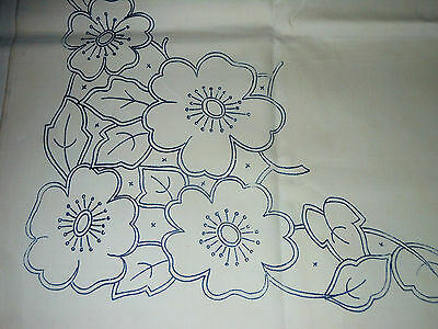 Vintage Tablecloth Embroidery Design Traced Dog Roses White Linen Sq Sew Project