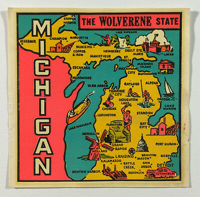 Vintage Travel Decal / Transfer - Michigan, The Wolverine State