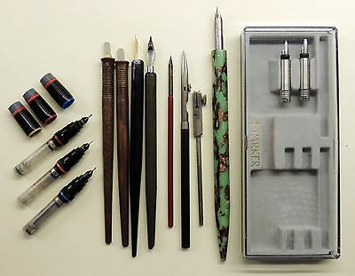 Variety of CALLIGRAPHY nibs and holders Rotring Varioscript Parker