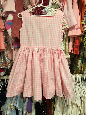 1950s VINTAGE Girls Pink Gingham Dress 4/5