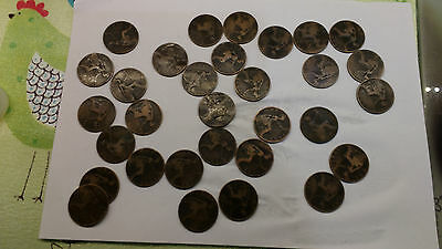 Collection of Victorian Pennies (Veiled head Pennies)