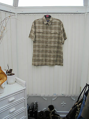 Rohan Broadcast Mens Size M Stone/Brown Check Short Sleeve Hiking/Walking Shirt