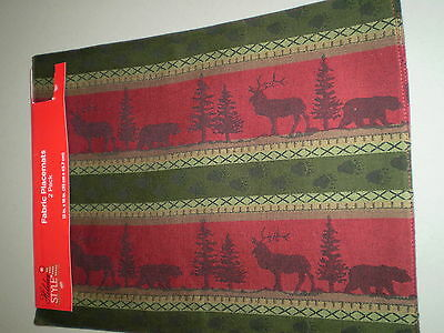 NEW! Two Christmas Fabric Placemats! Moose & Bear Design! Nice!