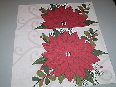 NEW! Two Christmas Fabric Placemats! Poinsettias! Nice!