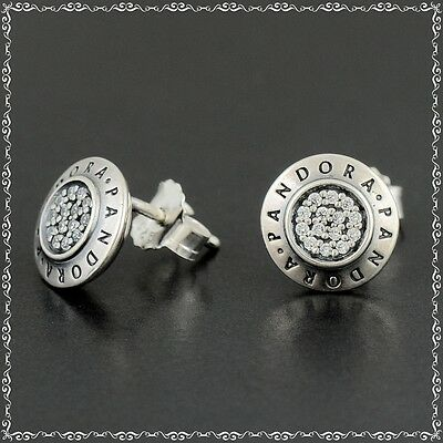 Pandora Sterling Silver Signature Stud Earrings 290559CZ New with polishing clot
