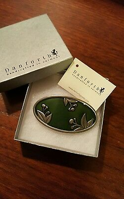 Danforth Pewter Hand Crafted Green Cherries Oval Hair Barrette made in Vermont