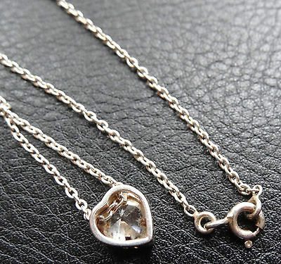vintage 925 STERLING SILVER clear stone love heart pendant chain necklace -D138