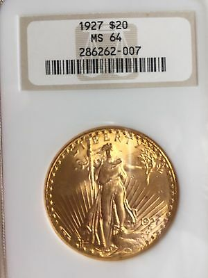1927 $20 St. Gaudens Gold Double Eagle MS-64 NGC Old holder