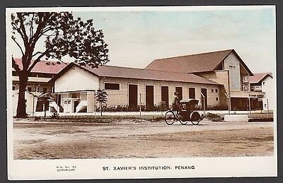 Postcard Penang Malaysia view of St Vavier's Institution RP