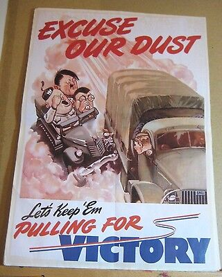 "WW2 Era style Allied War Effort Poster Geat Condition!  ""Eat Our Dust!"""