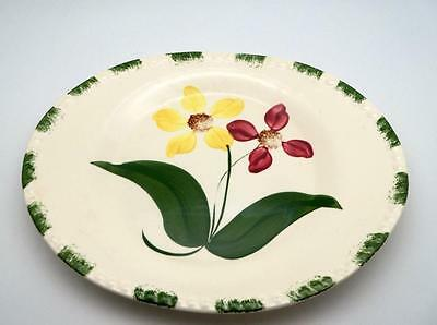 "Blue Ridge Pottery Oval Platter  Yellow Red Flower Green Trim 11 3/4 "" Showgirl"