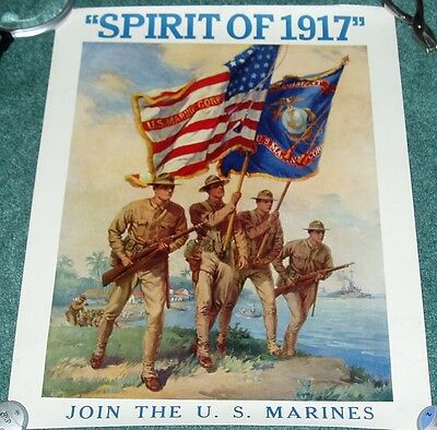Spirit Of 1917 Join The Us Marines Original Ww1 Recruting Poster Great Color