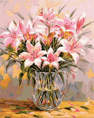 "16X20"" Paint By Number Kit DIY Acrylic Painting on Canvas Flowers 1083"